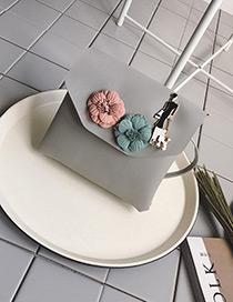 Fashion Gray Flower Decorated Pure Color Shoulder Bag