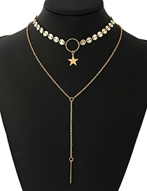 Fashion Gold Color Sequins&star Decorated Multi-layer Tassel Necklace