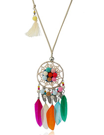 Fashion Multi-color Feather&ball Decorated Color Matching Pom Necklace