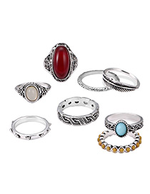 Vintage Antique Silver Leaf Shape Decorated Color Matching Ring Sets (8 Pcs)