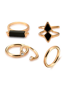 Vintage Antique Gold Geometry Shape Decorated Pure Color Ring Sets (5 Pcs)