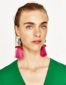 Fashion Plum Red Pearls&tassel Decorated Simple Earrings
