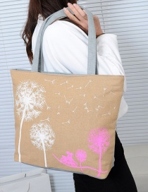 Fashion Beige Dandelion Pattern Decorated Shoulder Bag