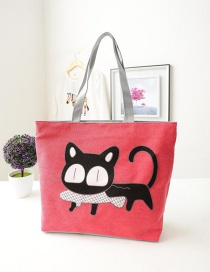 Fashion Red Cartoon Cat Pattern Decorated Shoulder Bag