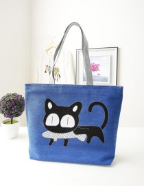 Fashion Blue Cartoon Cat Pattern Decorated Shoulder Bag