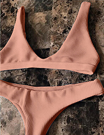 Sexy Pink Pure Color Decorated Simple Swimsuit