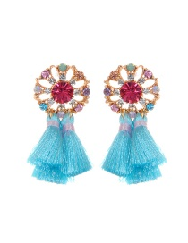 Fashion Blue Flower&tassel Decorated Simple Earrings