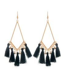 Fashion Dark Green Tassel Pendant Decorated Simple Earrings