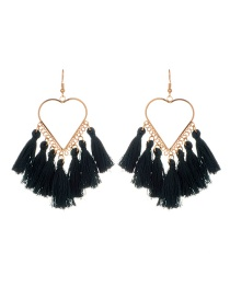Fashion Dark Green Tassel Decorated Heart Shape Design Earrings