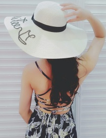 Trendy White Letter Pattern Decorated Pure Color Sun Hat Reviews