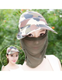 Trendy Green Color Matching Decorated Anti-ultraviolet Hat