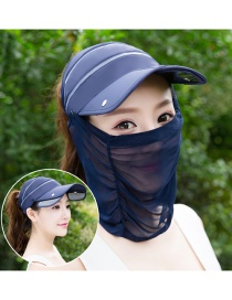 Trendy Dark Blue Pure Color Decorated Anti-ultraviolet Hat
