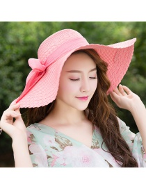 Trendy Pink Bowknot Decorated Pure Color Anti-ultraviolet Hat