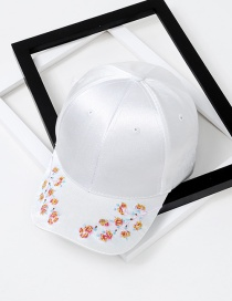 Fashion White Flower Pattern Decorated Simple Baseball Cap