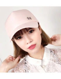 Fashion Pink Letter M Pattern Decorated Pure Color Cap