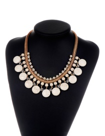 Fashion White Round Gemstone Decorated Pure Color Necklace