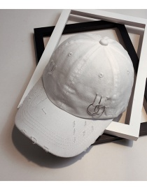 Fashion White Circular Ring Decorated Pure Color Baseball Cap