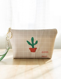 Lovely Light Pink Cactus Pattern Decorated Grid Design Wallet