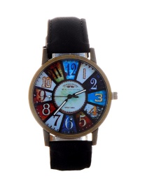 Fashion Black Color Matching Decorated Round Dail Watch