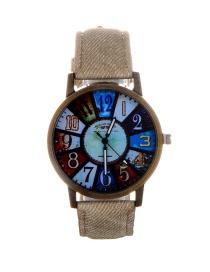 Fashion Khaki Color Matching Decorated Round Dail Watch