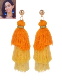 Fashion Yellow Tassel Decorated Color Matching Earrings