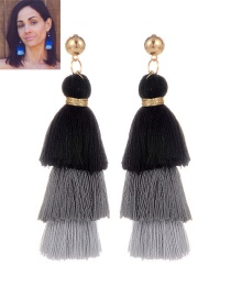 Fashion Black Tassel Decorated Color Matching Earrings