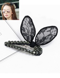 Fashion Black Rabbit Ears Decorated Pure Color Hairpin
