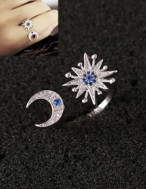 Fashion Blue Moon&star Decorated Simple Opening Ring