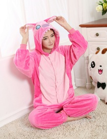 Fashion Pink Stitch Shape Decorated Color Matching Nightgown