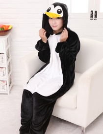 Fashion Black Penguin Shape Decorated Simple Nightgown