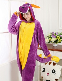 Fashion Purple Dinosaur Shape Decorated Simple Nightgown