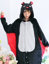 Fashion Black Bat Shape Decorated Color Matching Nightgown