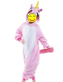 Fashion Pink Unicorn Shape Decorated Color Matching Nightgown