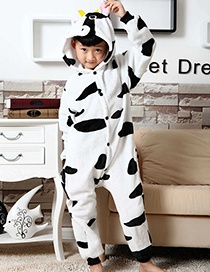Fashion Black+white Cows Shape Decorated Simple Chid Nightgown