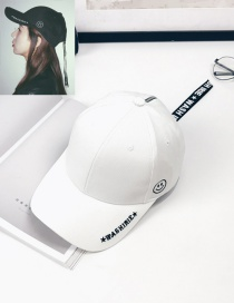 Fashion White Smiling Face Pattern Decorated Simple Baseball Cap
