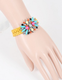 Fashion Yellow Geometric Diamond Decorated Hand-woven Bracelet