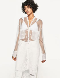Fashion White Embroidery Decorated Pure Color Sunscreen Coat