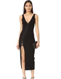 Fashion Black Pure Color Decorated V Neckline Design Long Dress