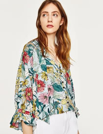 Fashion Multi-color Embroidery Flower Decorated Long Sleeves Shirt
