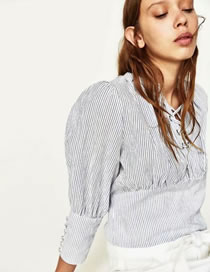Fashion White+gray Stripe Pattern Decorated Simple Shirt