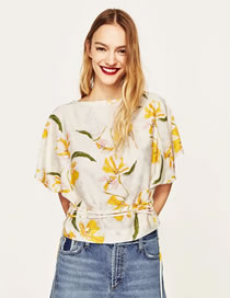 Fashion Yellow Embroidery Flower Decorated Bat-wing Sleeves Shirt