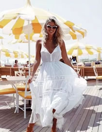 Fashion White Pure Color Decorated Patchwrok Lace Dress