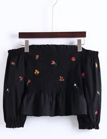 Fashion Black Embroidery Flower Decorated Off Shoulder Shirt