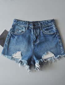 Fashion Blue Pure Color Decorated High-waist Ripped Jeans Shorts