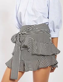 Fashion Black+white Stripe Pattern Decorated Simple Lotus Leaf Skirt