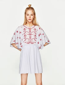Fashion Light Blue Embroidery Flower Decorated Short Sleeves Loose Dress