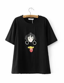 Fashion Black Girl Pattern Decorated Short Sleeves T-shirt