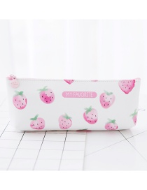 Fashion White+pink Strawberry Pattern Decorated Pure Color Pencil Case