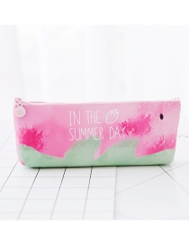 Fashion Pink+green Strawberry Pattern Decorated Color Matching Pencil Case