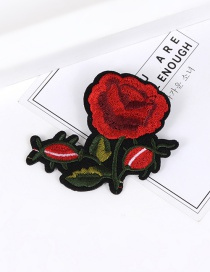 Fashion Red Embroidery Flower Decorated Color Matching Brooch